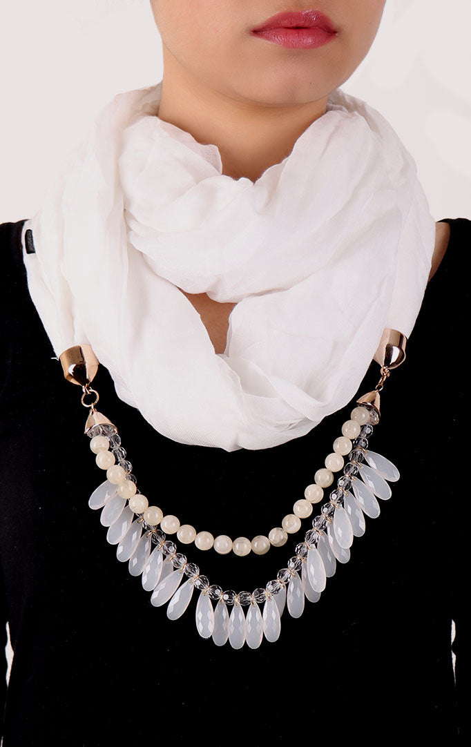 White Infinity Scarf with Small Beads