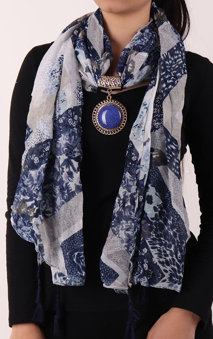 Blue Round Pendant Embellished Stole in Gray and Blue Printed Fabric
