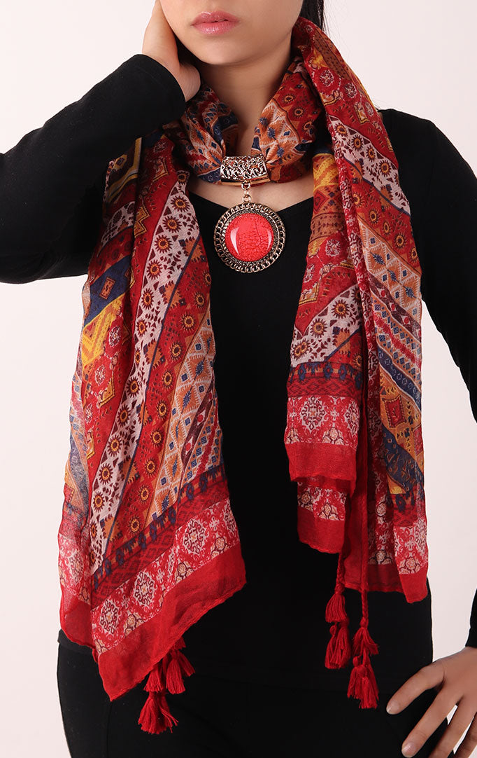 Red Printed Stole with Embellishment