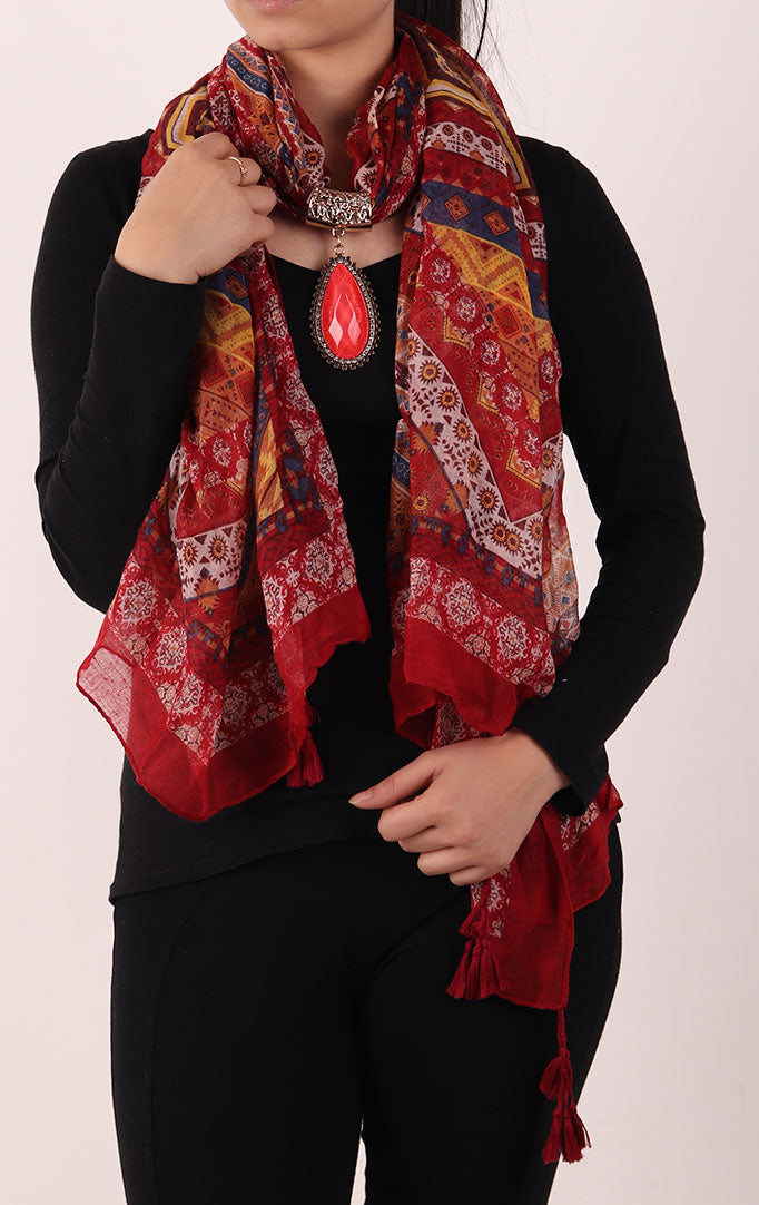 Red Printed Stole with Embellishment OVAL PENDANT
