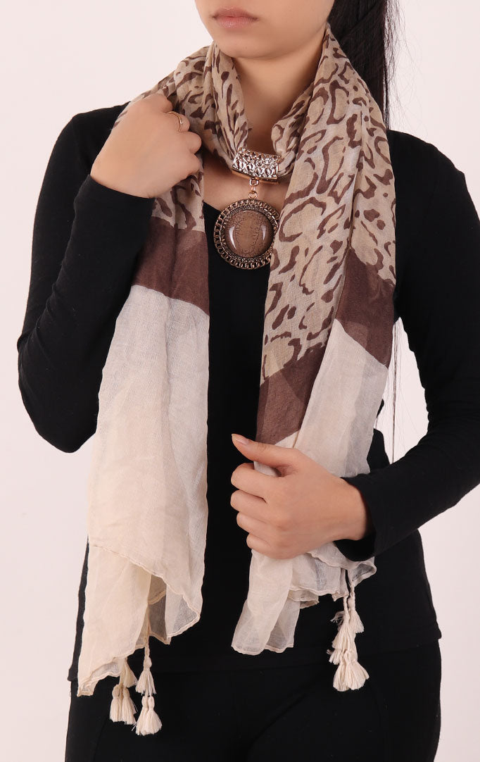 Brown Printed Stole with Embellishment Brown Pendant