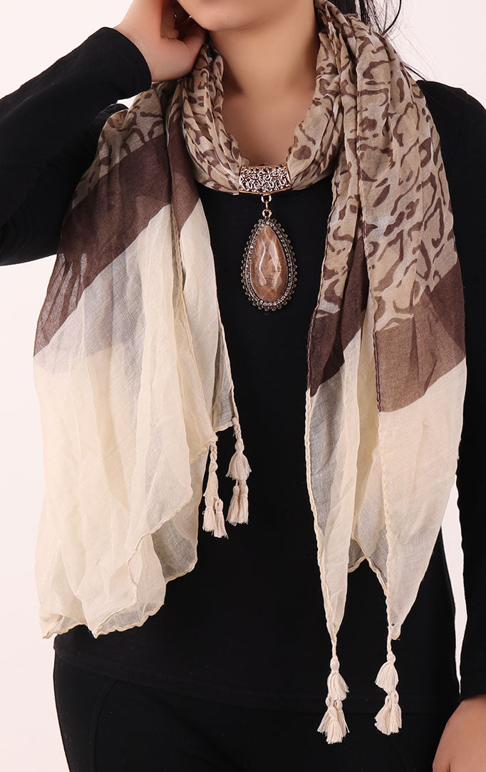 Brown Printed Stole with Embellishment Brown Oval Pendant