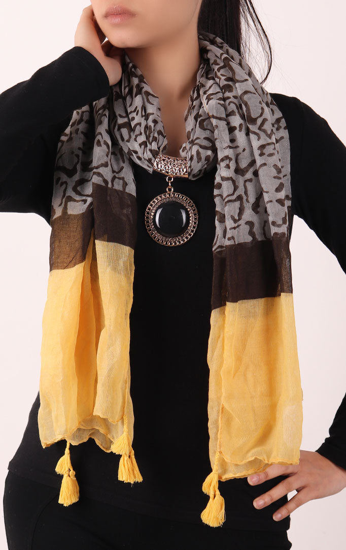 Yellow and Brown Printed Stole with Embellishment Black Pendant