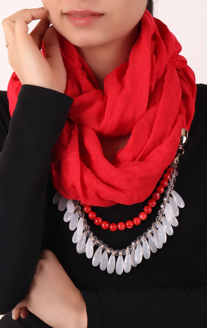 Red Infinity Scarf with Small Beads