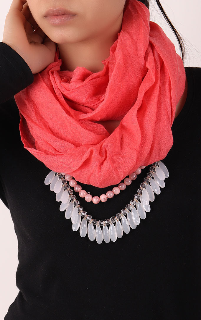 Peach Infinity Scarf with Small Beads