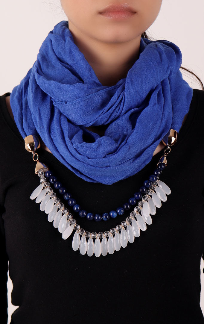 Electric Blue Infinity Scarf with Small Beads