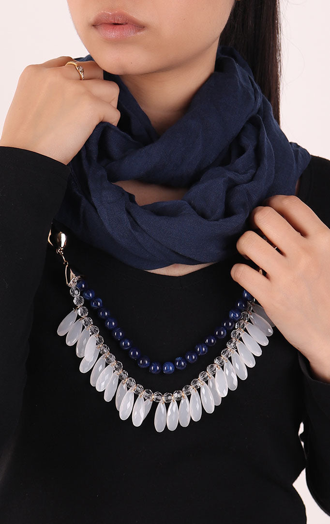 Navy Blue Infinity Scarf with Small Beads