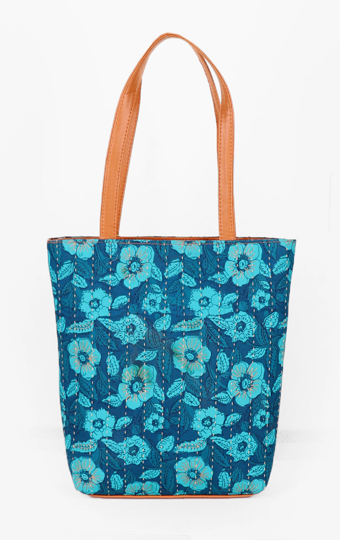Floral Fun Tote Bag in Blue