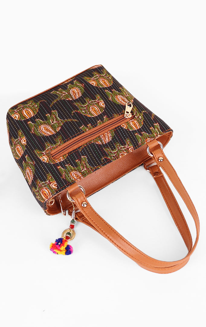 Green Elephant Print Bag