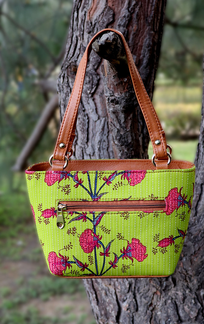 Flower Block Print Handbag