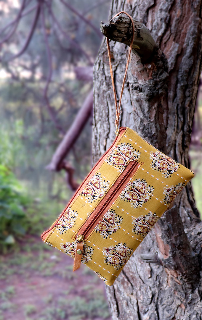 Mustard Yellow Block-Printed Wristlet with Tan Details