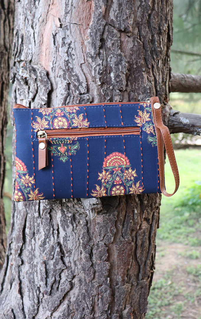 Bright Blue Printed Wristlet with Tan Details