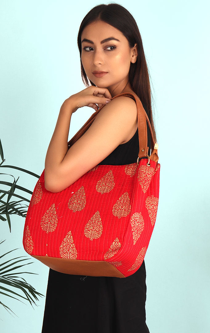 GET THE VIBES VERMILION HANDBAG