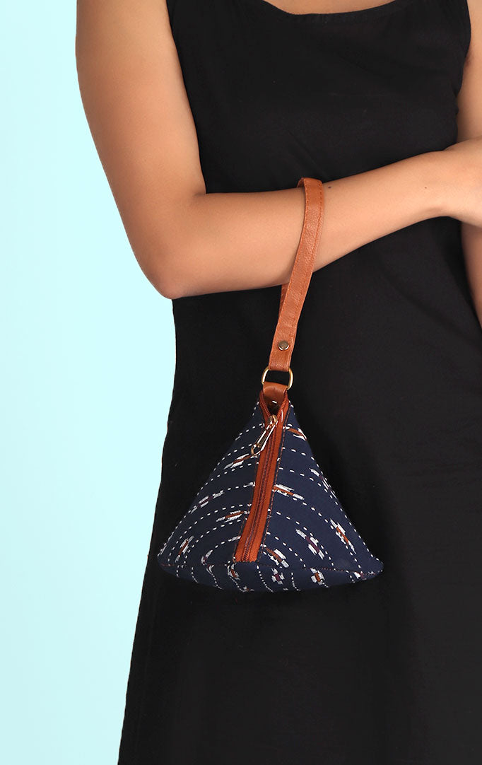 A BLUE HILL MINI TRIANGLE PURSE