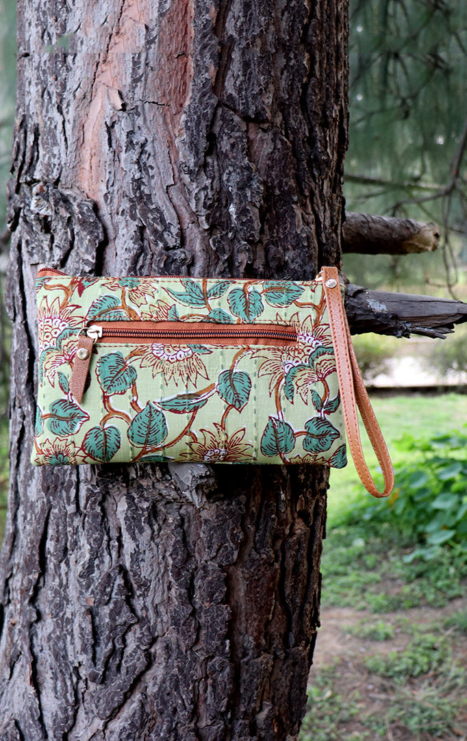 Green Block-Printed Wristlet with Tan Details