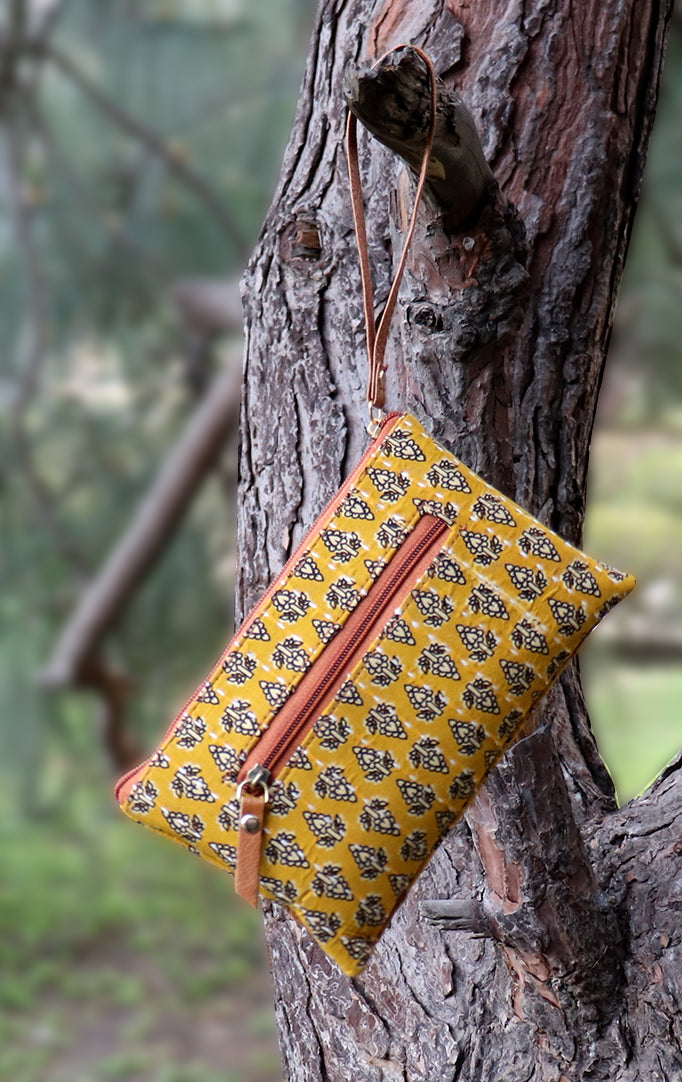 Yellow-White Block-printed Wristlet with Tan Details