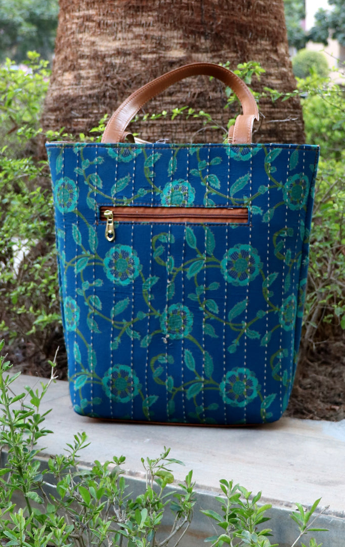Floral Fun Tote Bag Green Print on Blue Hue
