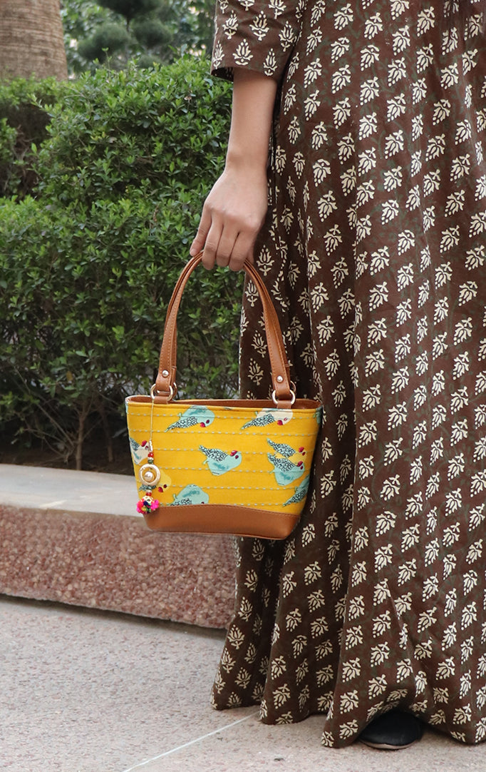 Pretty Parrot Block Print Handbag