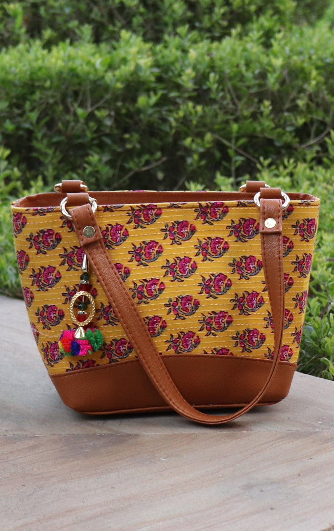 Charming Fabric Handbag in Yellow