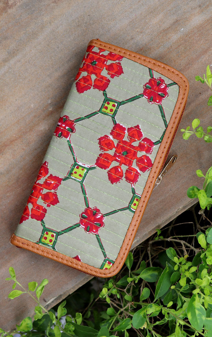 GEOMETRIC FLOWER PRINT WALLET