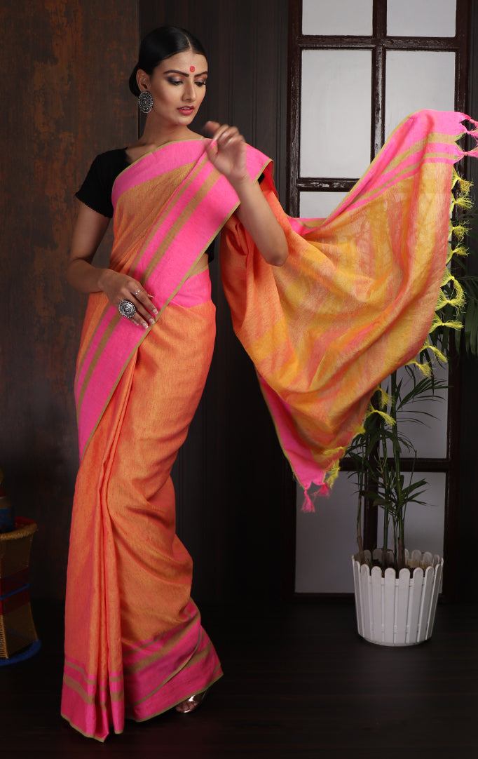 Light orange-Pink Cotton Linen Saree