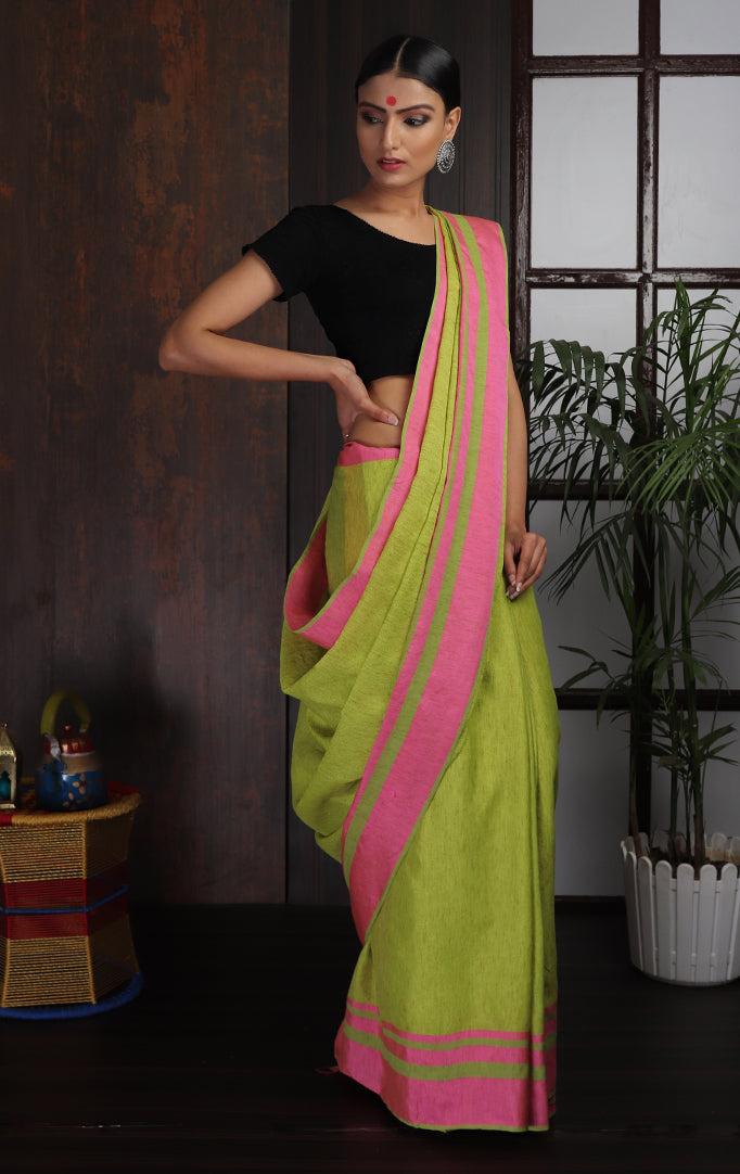 Lime Green Pink Cotton Linen Saree