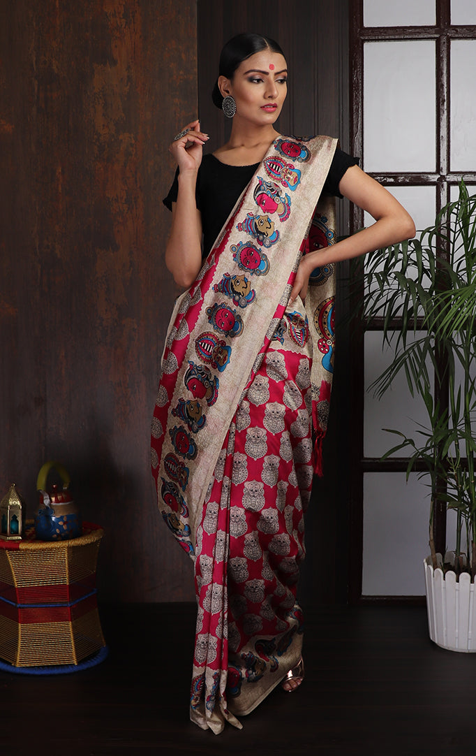 Kalamkari Face Print Art Silk Saree in Pink & Beige
