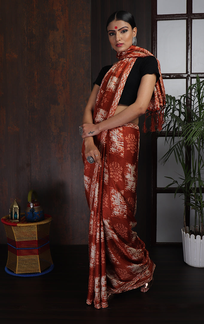 Maroon White Square Printed Saree
