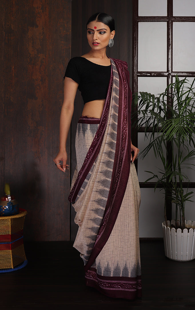 Elegant Ikat Saree in Maroon and Off-white