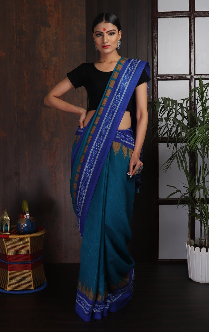 Ikat Saree in Teal and Ink-Blue