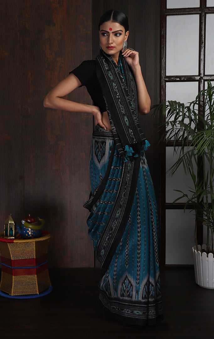 Teal-Black Ikat Saree