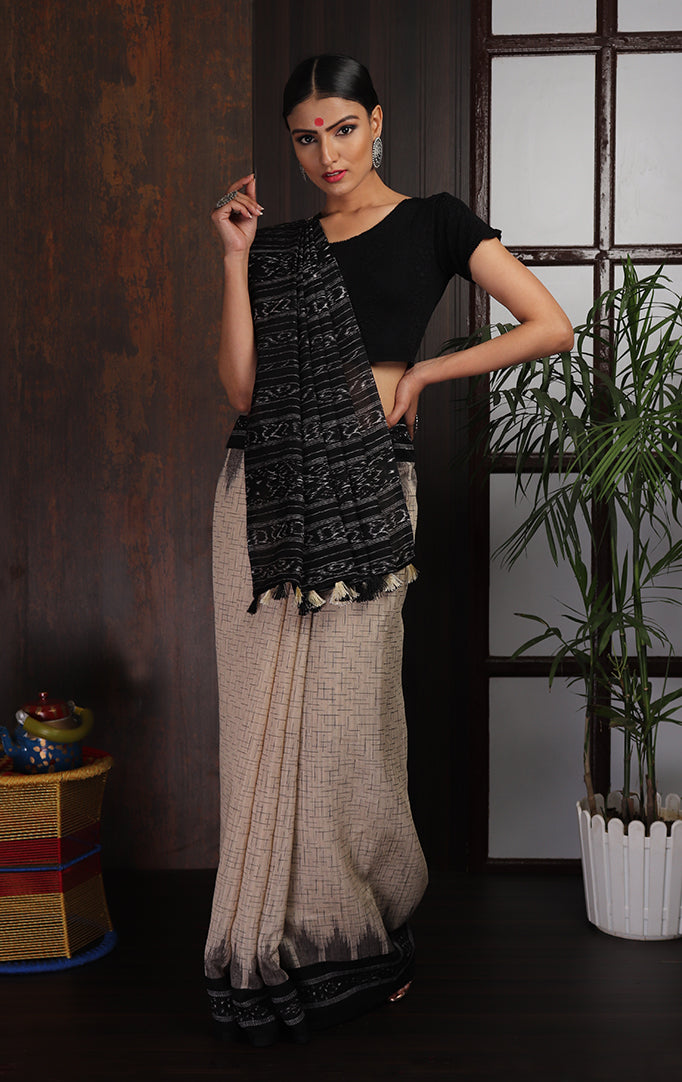 Elegant Ikat Saree in Black and Off-white