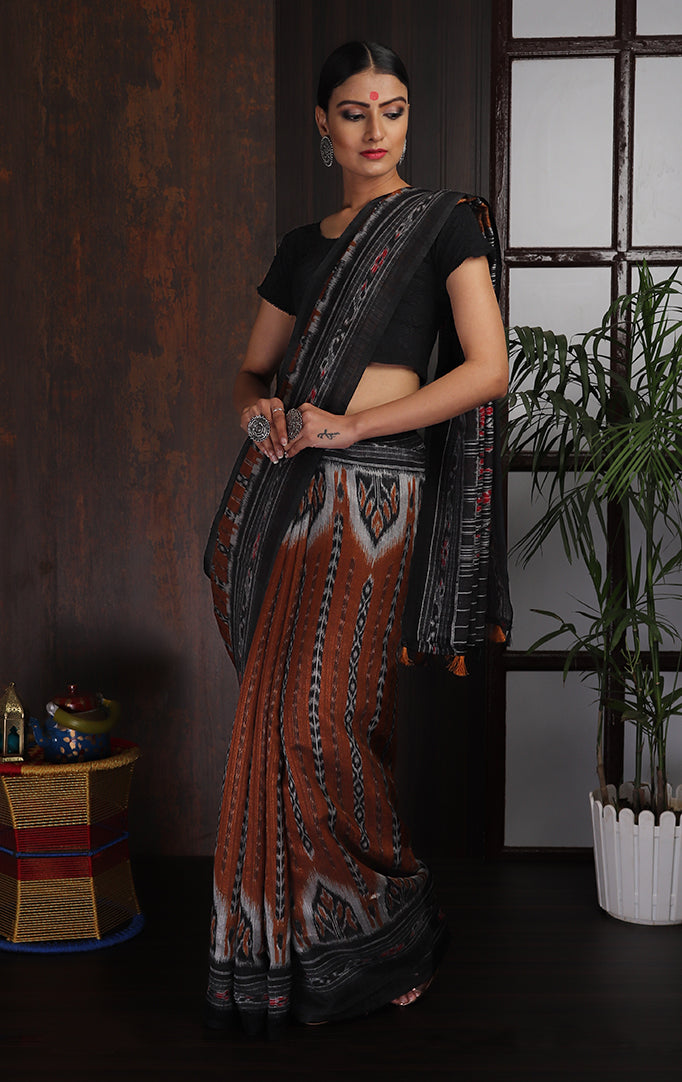 Brown Black Ikat Saree