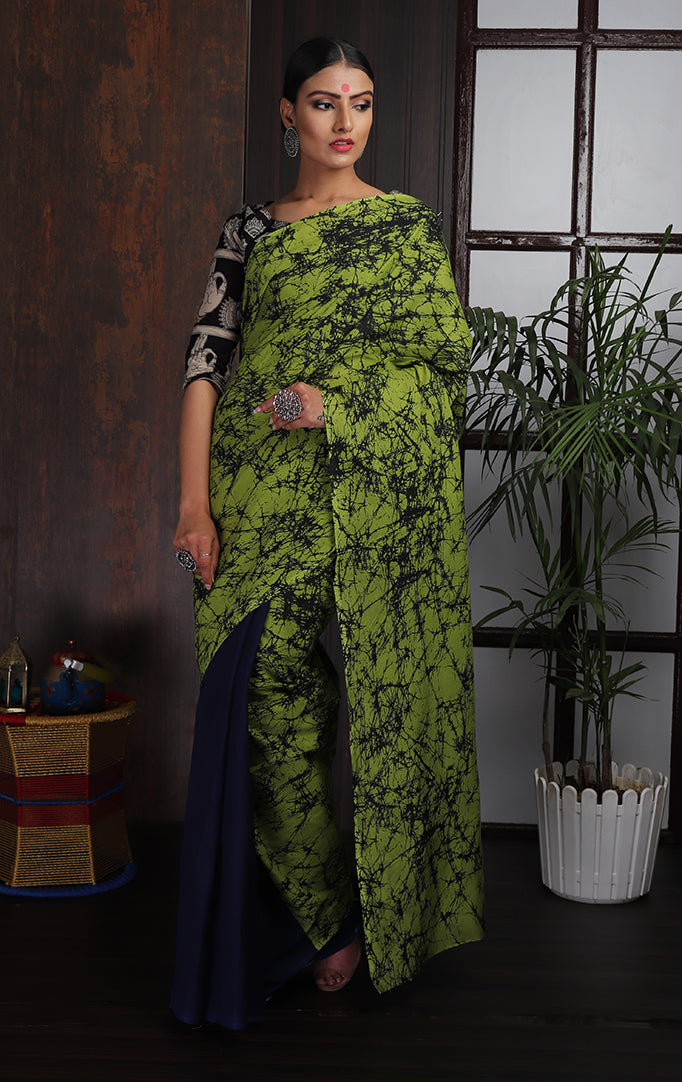 Lime Green & Blue Shibori-printed Saree