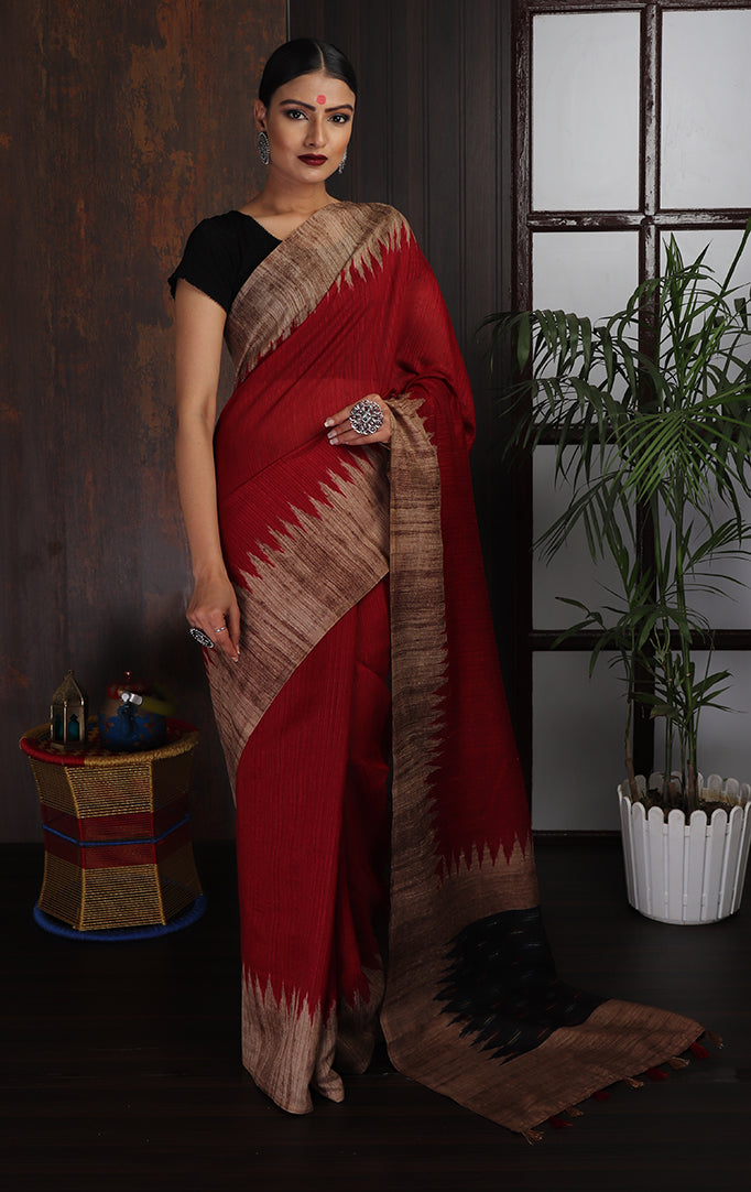 Rich Red Saree with Broad-brown Border