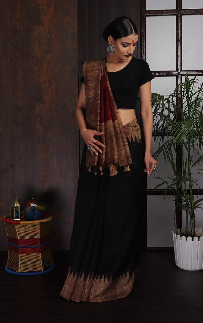 Black-Red Saree with Broad-brown Border