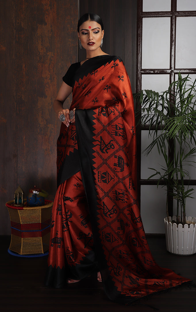 Warli-Orange Purple-Black Saree