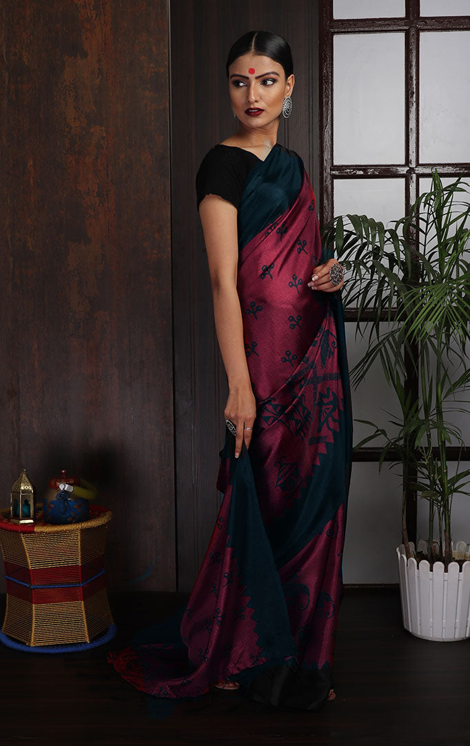 Warli-Purple Purple-Black Saree