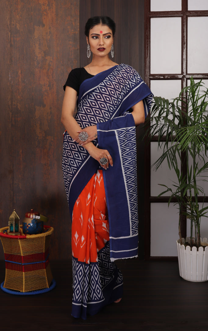Blue-Orange printed Saree