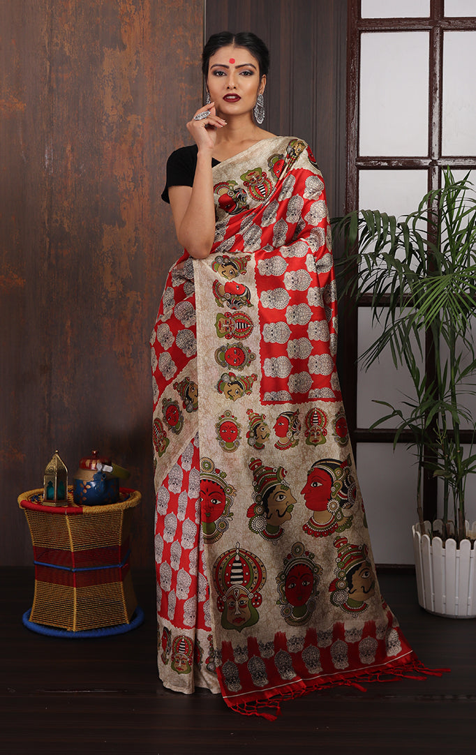 Red Beige Faces printed Saree
