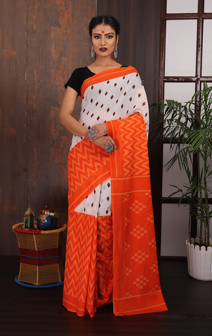 Orange-White printed Saree