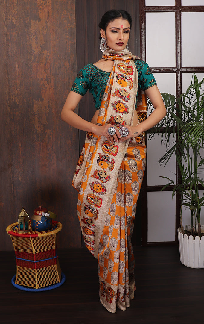 Yellow Beige Faces printed Saree