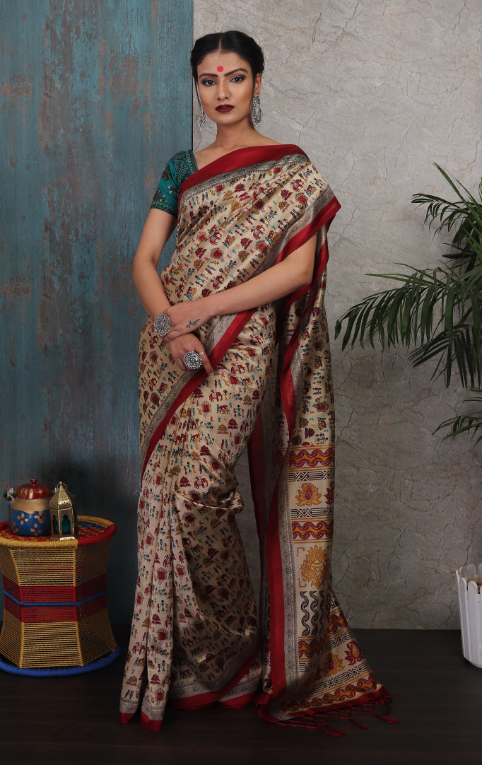 Warli-printed Saree in Red-Beige