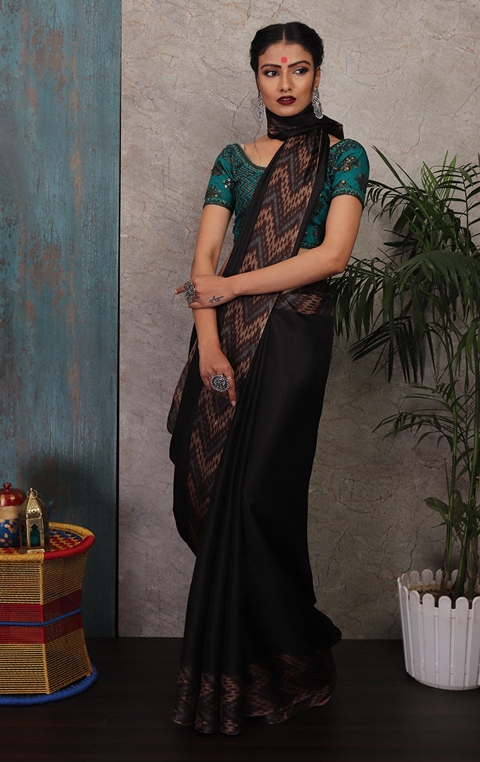Black Saree with Beige-Grey Chevron Border