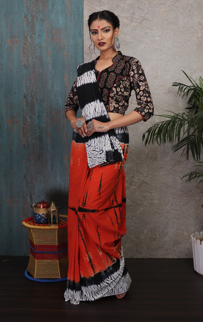 Black-Orange-White Shibori-printed Saree