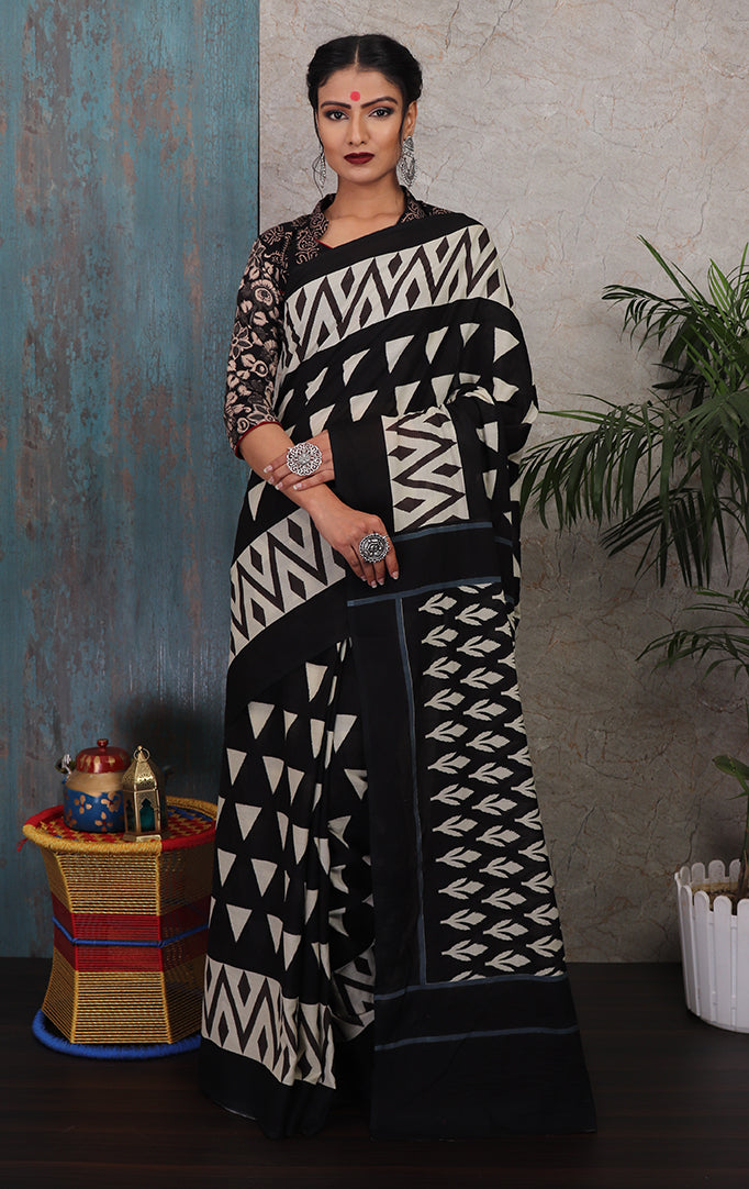 Beauty in Black Baatik Print Saree