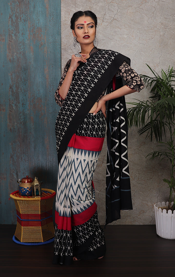 Black-White-Red Printed Saree