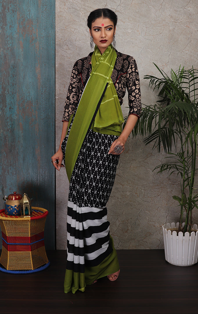 Black-White-Green Printed Saree