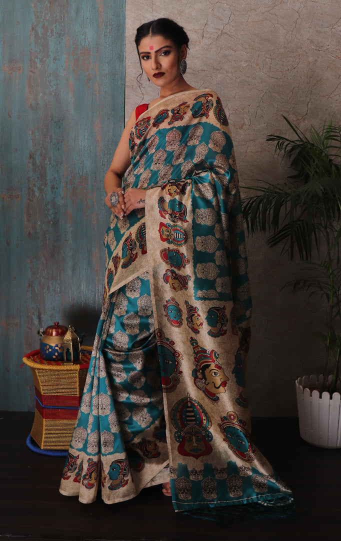 Turquoise Beige Faces printed Saree