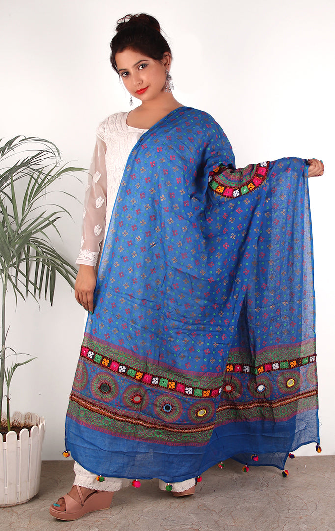 BLUE DELIGHT DUPATTA WITH BANDHANI  PRINT